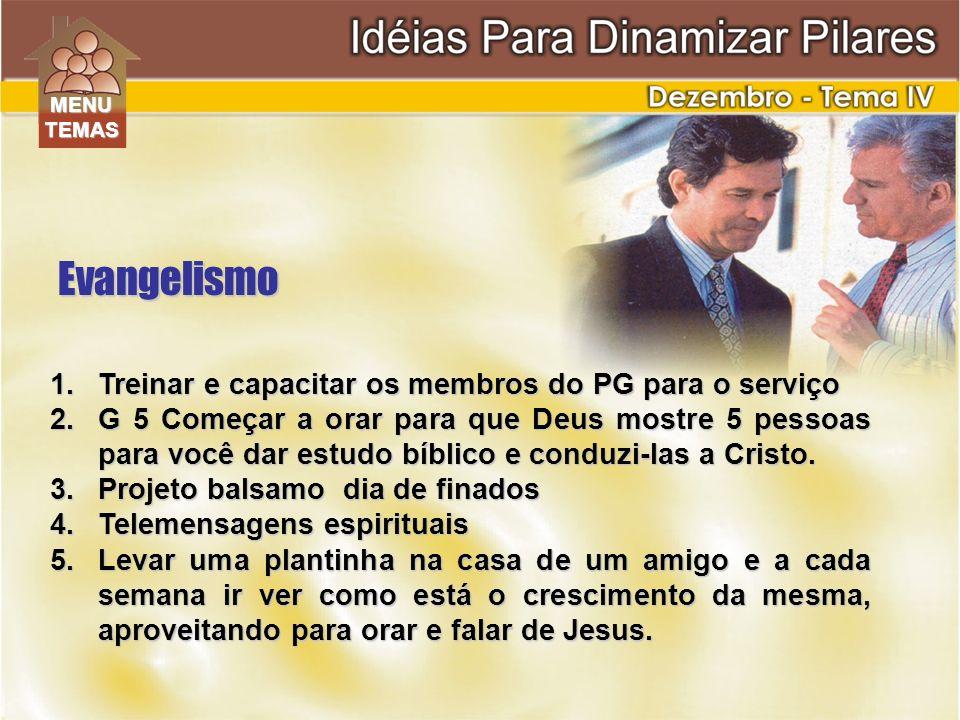1.Treinar e capacitar os membros do PG para o serviço 2.G 5 Começar a orar para que Deus mostre 5 pessoas para você dar estudo bíblico e conduzi-las a