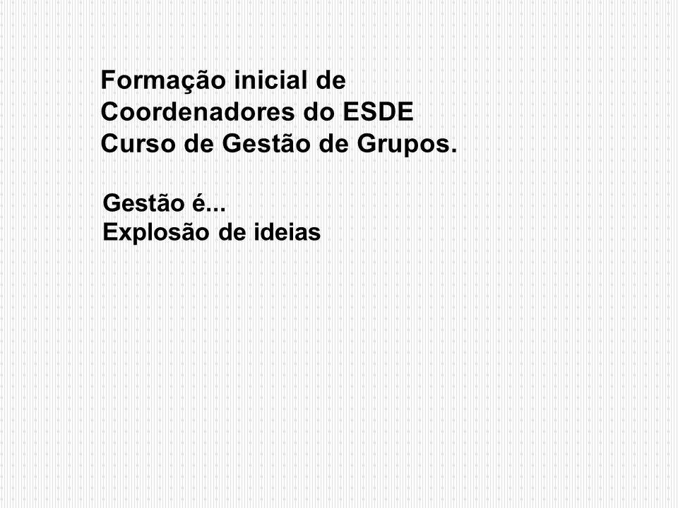 Formação inicial de Coordenadores do ESDE Curso de Gestão de Grupos. Gestão é... Explosão de ideias