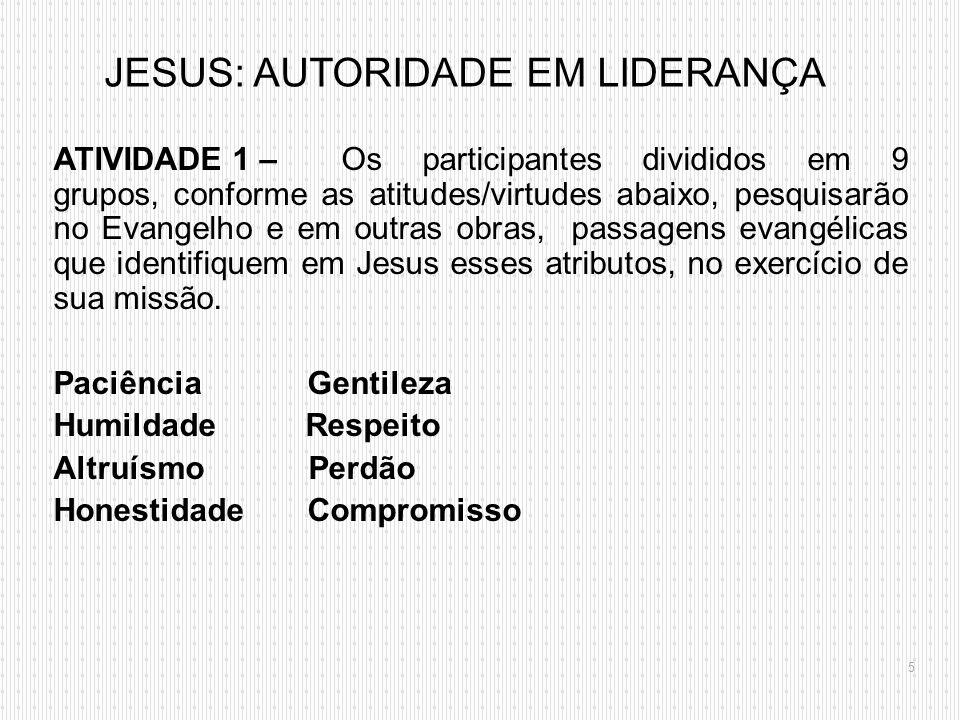 ATIVIDADE 1 – Os participantes divididos em 9 grupos, conforme as atitudes/virtudes abaixo, pesquisarão no Evangelho e em outras obras, passagens evan