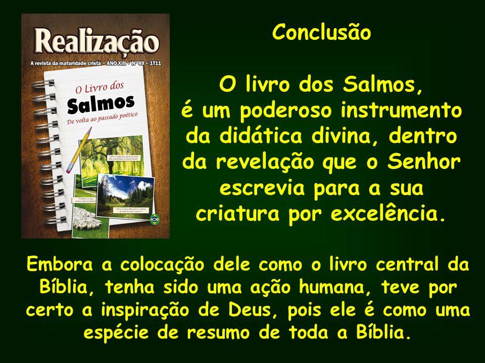 Conclusão O livro dos Salmos, é um poderoso instrumento da didática divina, dentro da revelação que o Senhor escrevia para a sua criatura por excelênc