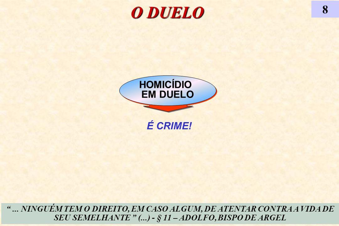HOMICÍDIO EM DUELO HOMICÍDIO EM DUELO O DUELO... NINGUÉM TEM O DIREITO, EM CASO ALGUM, DE ATENTAR CONTRA A VIDA DE SEU SEMELHANTE (...) - § 11 – ADOLF