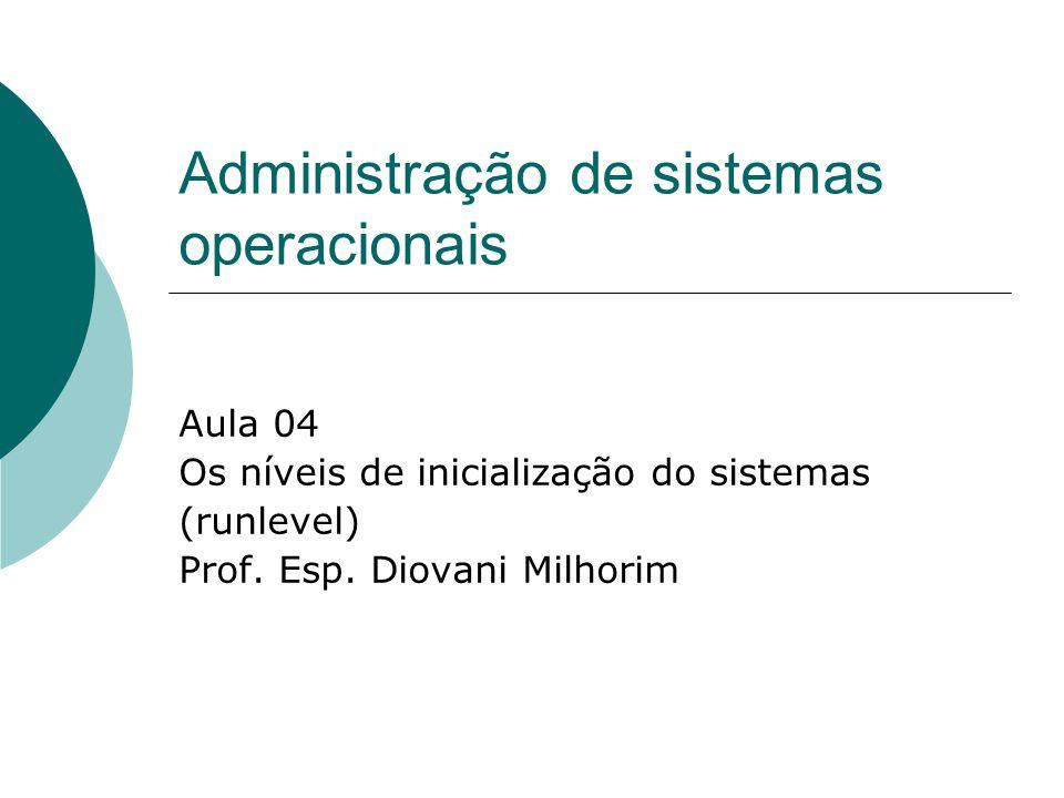 Administração de sistemas operacionais Aula 04 Os níveis de inicialização do sistemas (runlevel) Prof. Esp. Diovani Milhorim
