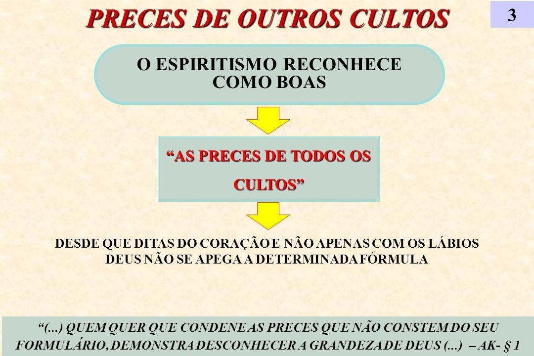 PRECES DE OUTROS CULTOS O ESPIRITISMO RECONHECE COMO BOAS AS PRECES DE TODOS OS CULTOS 3 (...) QUEM QUER QUE CONDENE AS PRECES QUE NÃO CONSTEM DO SEU