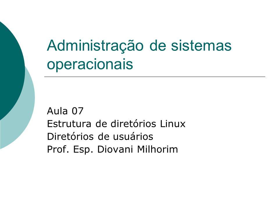 Administração de sistemas operacionais Aula 07 Estrutura de diretórios Linux Diretórios de usuários Prof. Esp. Diovani Milhorim