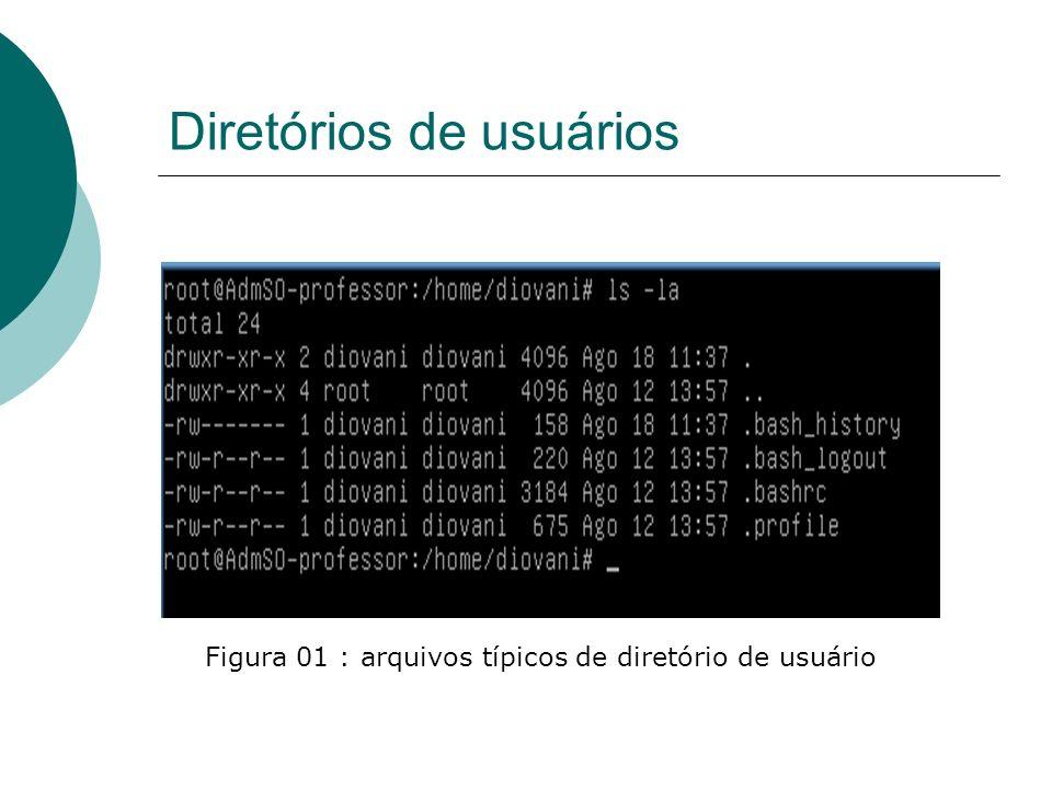 Diretórios de usuários Encontramos também no diretório de usuário o arquivo oculto./bash_history onde estão armazenados os últimos comandos digitados pelo usuário.