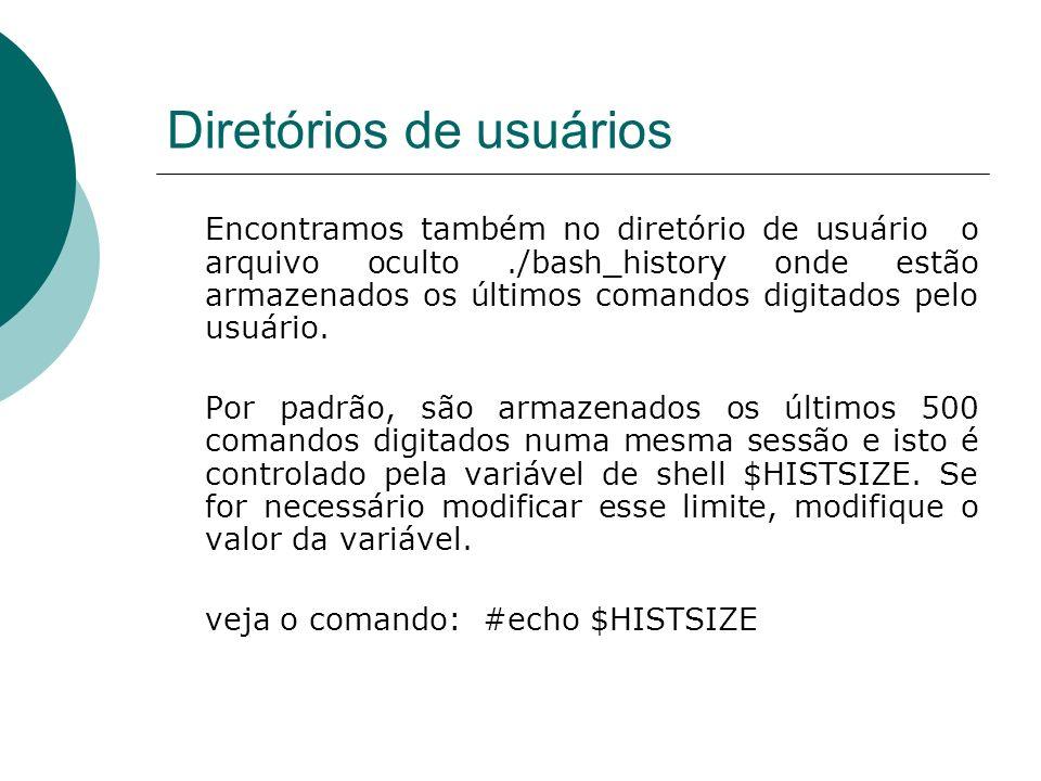 Diretórios de usuários Sempre que uma sessão de terminal é encerrada, o histórico (que durante a sessão fica somenta na memória) é gravado em disco, no arquivo ~/.bash_history.