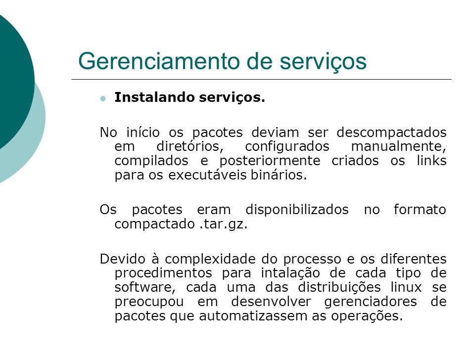 Gerenciamento de serviços Instalando serviços. No início os pacotes deviam ser descompactados em diretórios, configurados manualmente, compilados e po