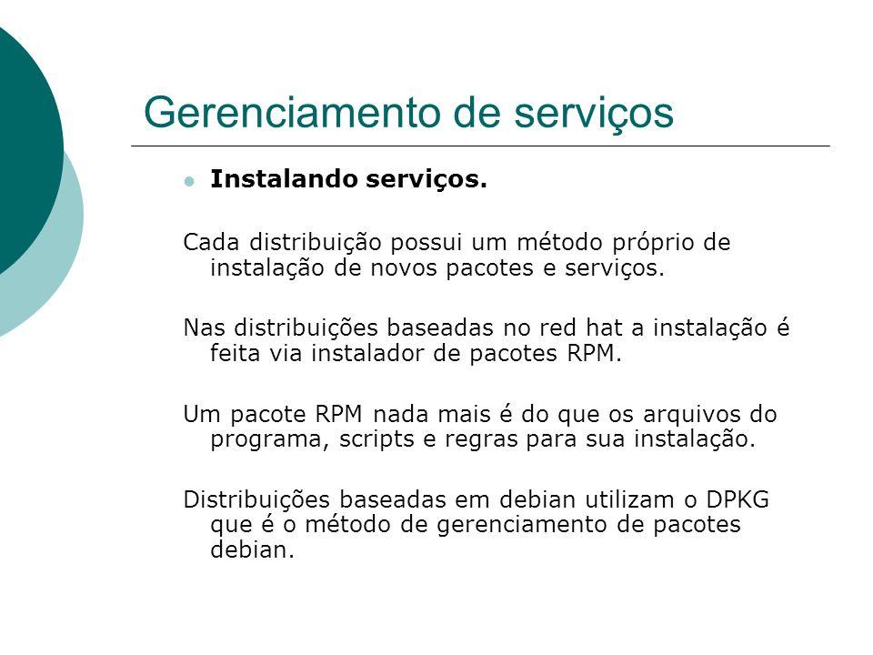 Gerenciamento de serviços Instalando serviços. Cada distribuição possui um método próprio de instalação de novos pacotes e serviços. Nas distribuições