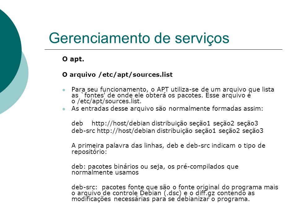 Gerenciamento de serviços O apt. O arquivo /etc/apt/sources.list Para seu funcionamento, o APT utiliza-se de um arquivo que lista as `fontes' de onde