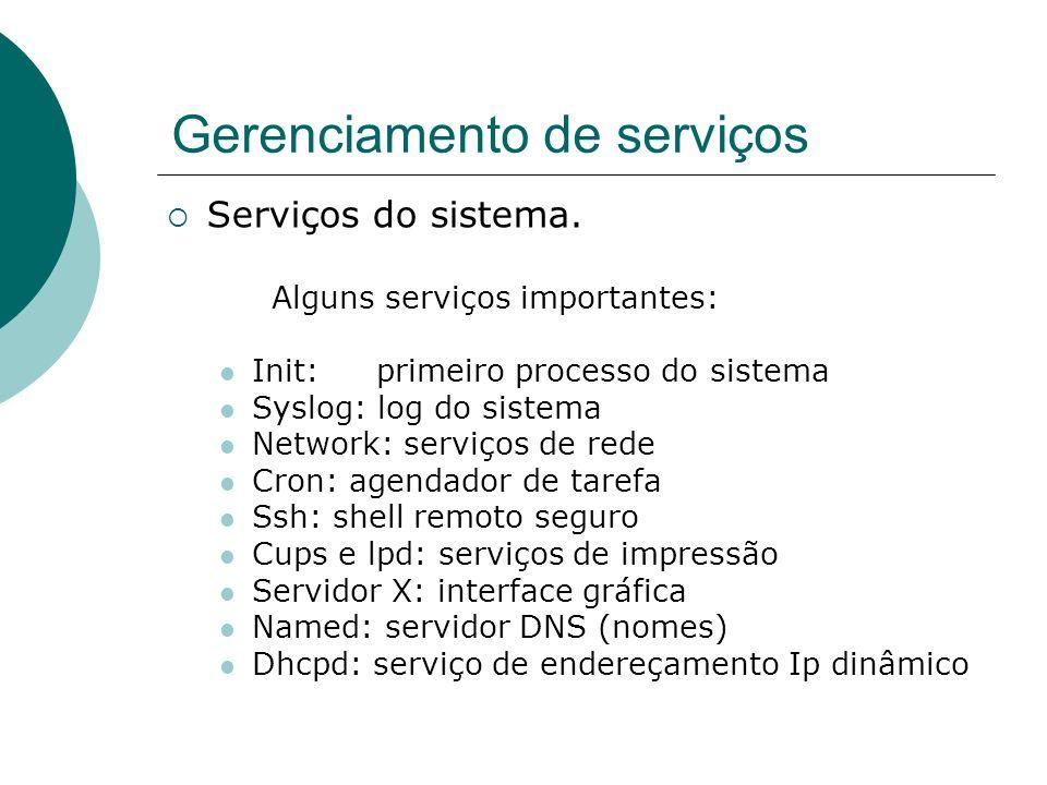 Gerenciamento de serviços Serviços do sistema. Alguns serviços importantes: Init:primeiro processo do sistema Syslog: log do sistema Network: serviços