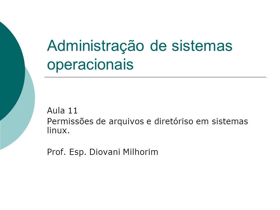 Administração de sistemas operacionais Aula 11 Permissões de arquivos e diretóriso em sistemas linux. Prof. Esp. Diovani Milhorim