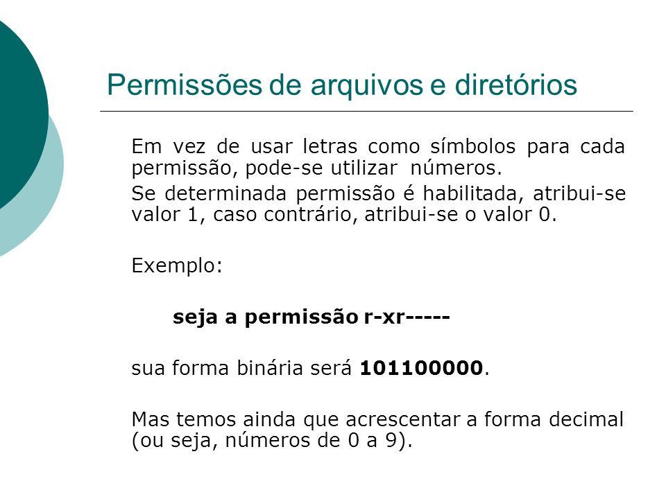 Permissões de arquivos e diretórios Em vez de usar letras como símbolos para cada permissão, pode-se utilizar números. Se determinada permissão é habi