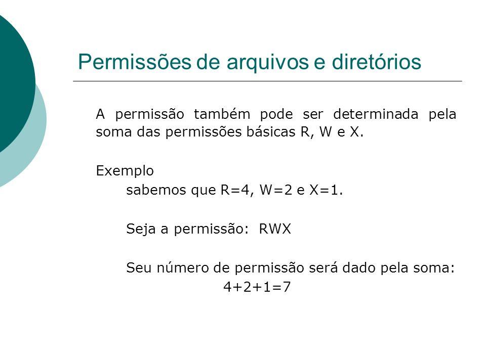 Permissões de arquivos e diretórios A permissão também pode ser determinada pela soma das permissões básicas R, W e X. Exemplo sabemos que R=4, W=2 e