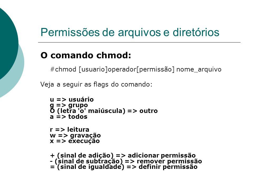 Permissões de arquivos e diretórios O comando chmod: #chmod [usuario]operador[permissão] nome_arquivo Veja a seguir as flags do comando: u => usuário