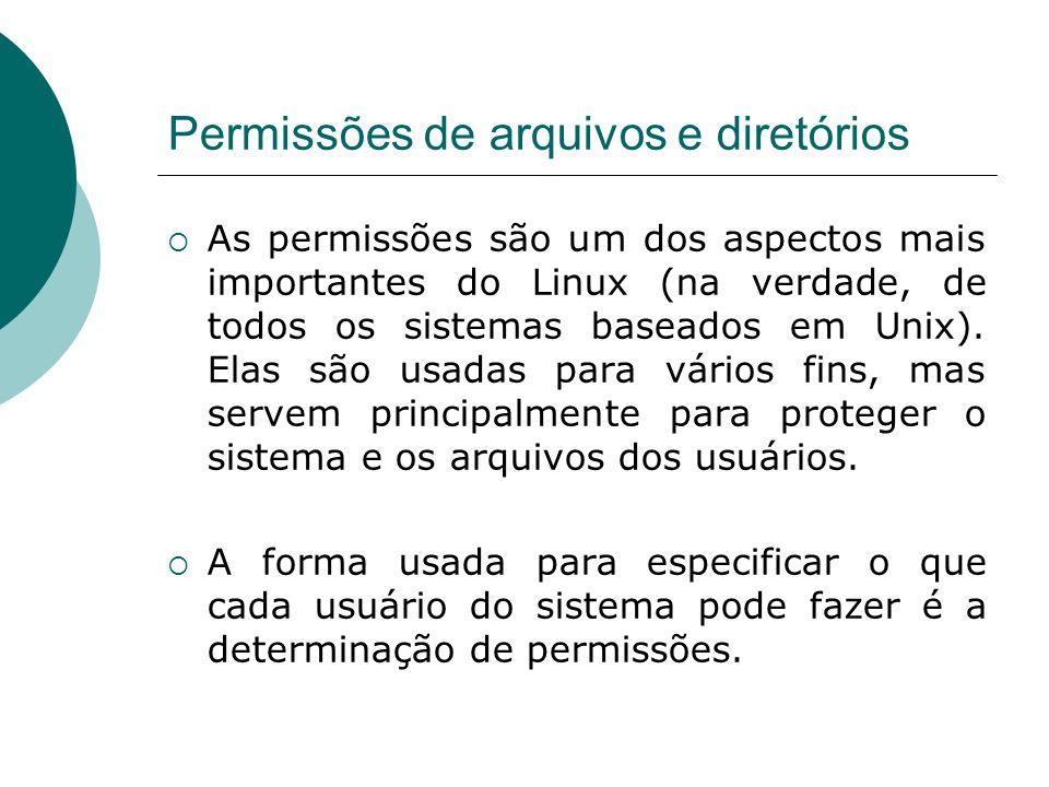 Permissões de arquivos e diretórios As permissões são um dos aspectos mais importantes do Linux (na verdade, de todos os sistemas baseados em Unix). E