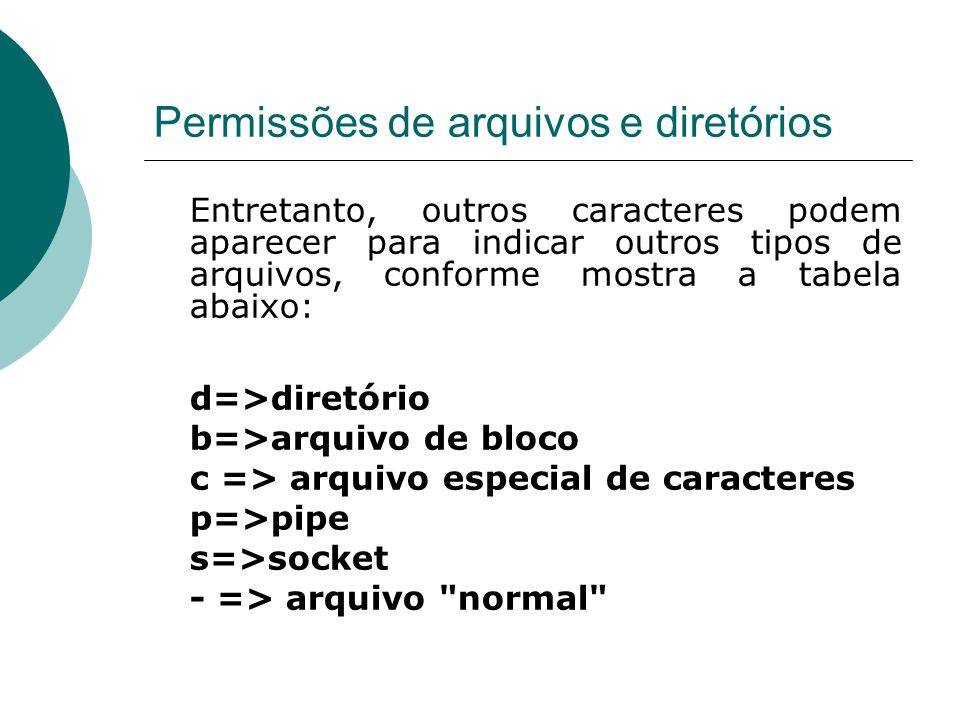 Permissões de arquivos e diretórios Entretanto, outros caracteres podem aparecer para indicar outros tipos de arquivos, conforme mostra a tabela abaixo: d=>diretório b=>arquivo de bloco c => arquivo especial de caracteres p=>pipe s=>socket - => arquivo normal