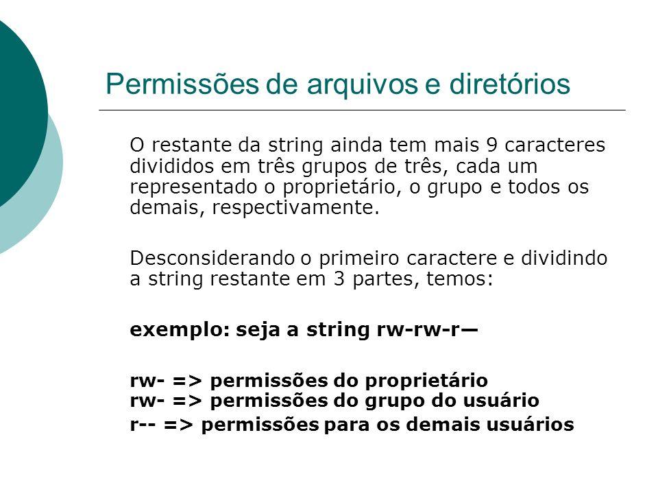 Permissões de arquivos e diretórios O restante da string ainda tem mais 9 caracteres divididos em três grupos de três, cada um representado o propriet