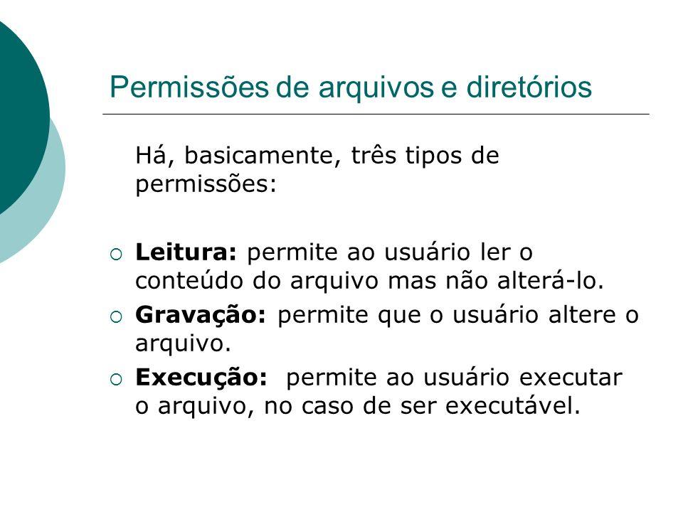 Permissões de arquivos e diretórios Há, basicamente, três tipos de permissões: Leitura: permite ao usuário ler o conteúdo do arquivo mas não alterá-lo.