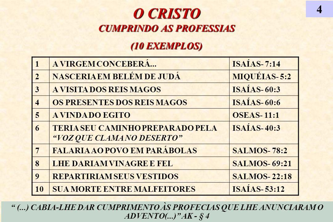 O CRISTO CUMPRINDO AS PROFESSIAS (10 EXEMPLOS) (...) CABIA-LHE DAR CUMPRIMENTO ÀS PROFECIAS QUE LHE ANUNCIARAM O ADVENTO(...) AK - § 4 4 1A VIRGEM CON