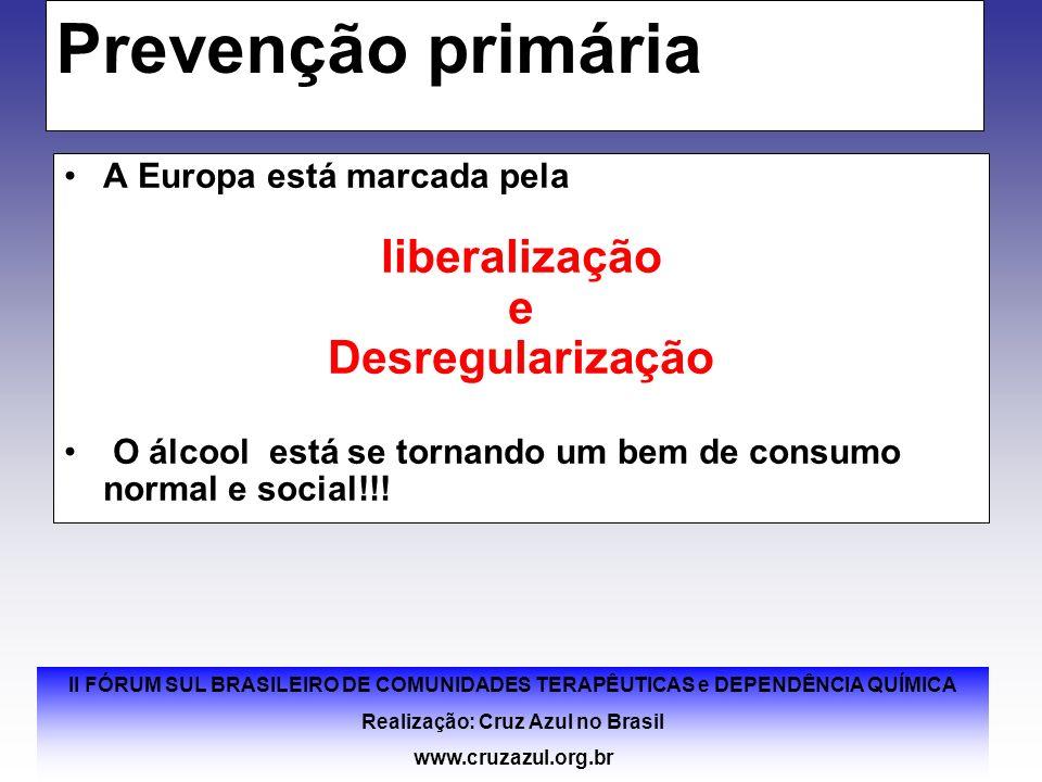 II FÓRUM SUL BRASILEIRO DE COMUNIDADES TERAPÊUTICAS e DEPENDÊNCIA QUÍMICA Realização: Cruz Azul no Brasil www.cruzazul.org.br Prevenção primária A Eur