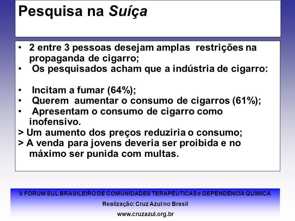 II FÓRUM SUL BRASILEIRO DE COMUNIDADES TERAPÊUTICAS e DEPENDÊNCIA QUÍMICA Realização: Cruz Azul no Brasil www.cruzazul.org.br Pesquisa na Suíça 2 entr