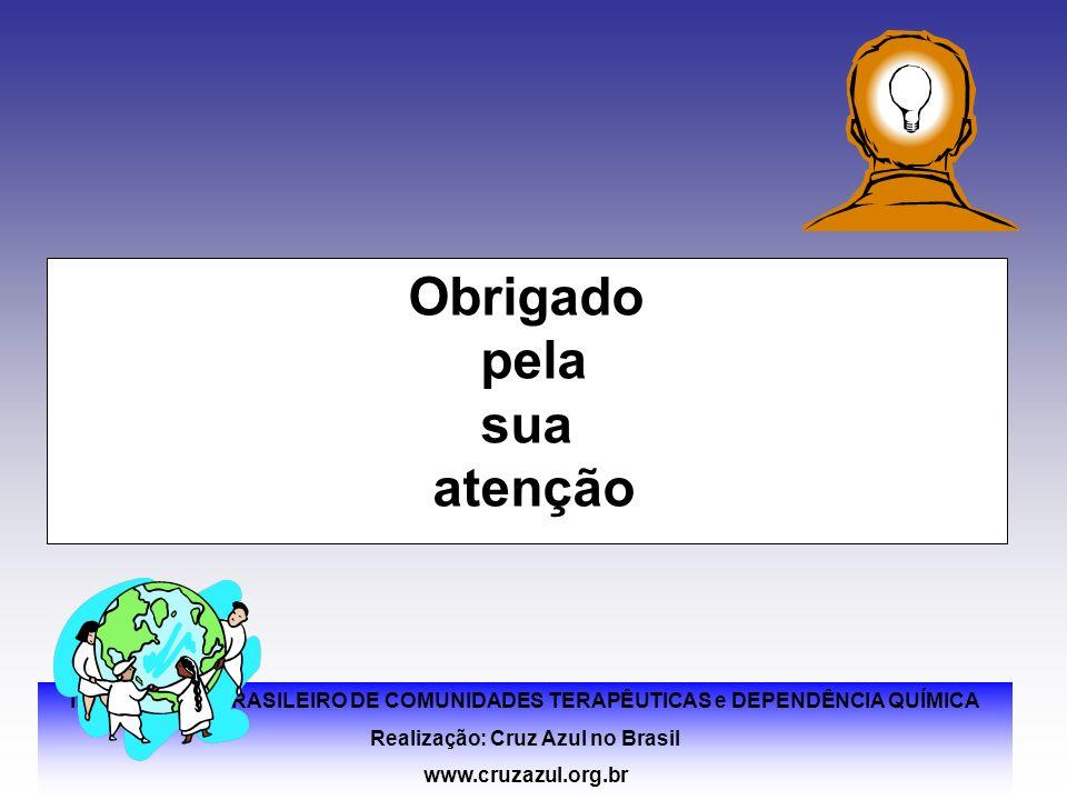 II FÓRUM SUL BRASILEIRO DE COMUNIDADES TERAPÊUTICAS e DEPENDÊNCIA QUÍMICA Realização: Cruz Azul no Brasil www.cruzazul.org.br Obrigado pela sua atençã