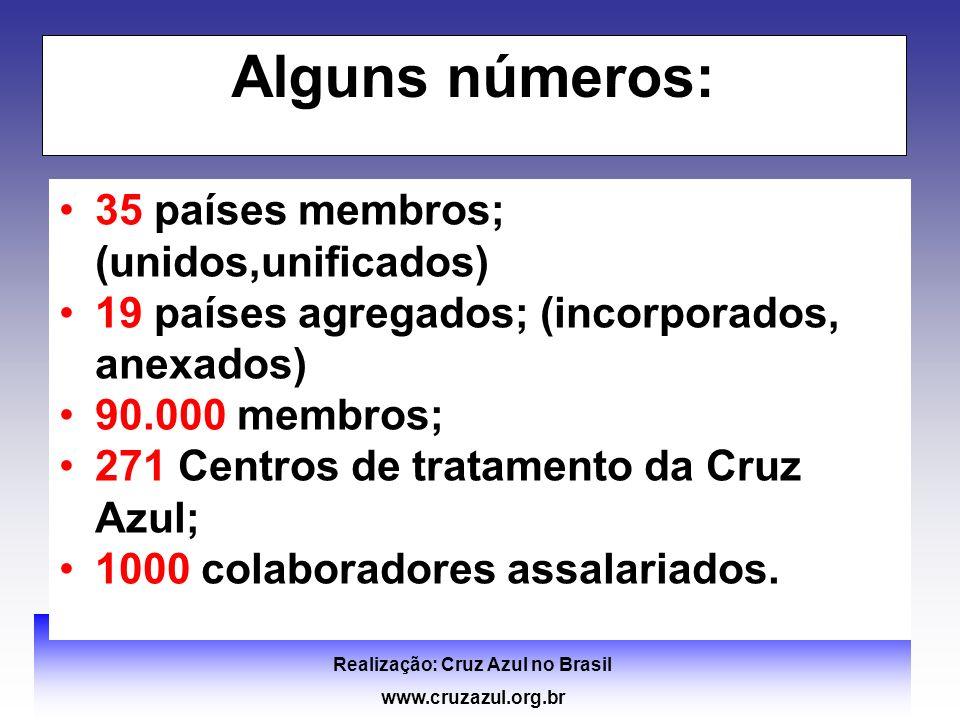 II FÓRUM SUL BRASILEIRO DE COMUNIDADES TERAPÊUTICAS e DEPENDÊNCIA QUÍMICA Realização: Cruz Azul no Brasil www.cruzazul.org.br Alguns números: 35 paíse