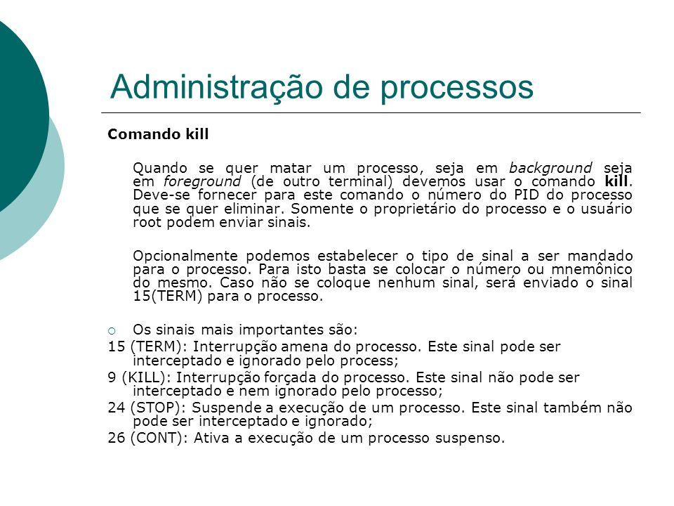 Administração de processos Exemplos utilizando o script tempo.sh abaixo.