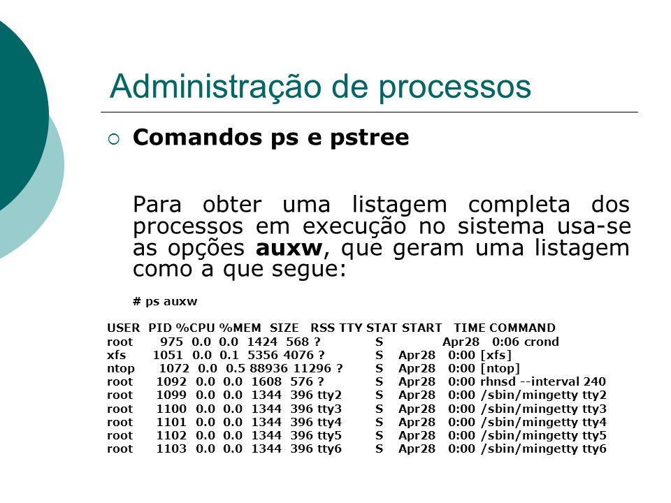 Administração de processos Os principais campos dessa listagem são: USER : o proprietário do processo PID : número do processo.
