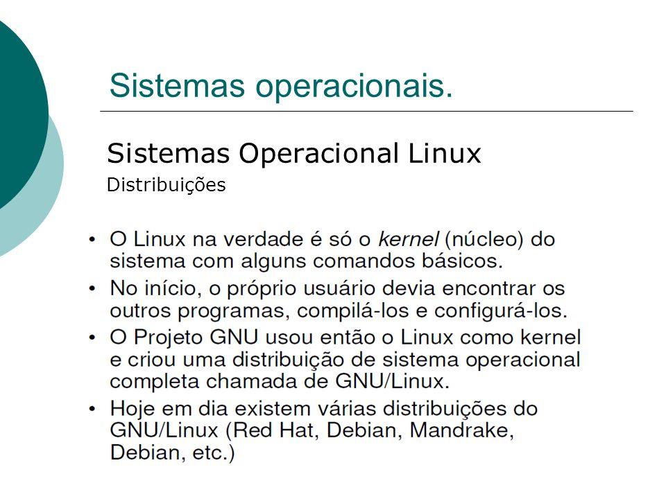 Sistemas operacionais. Sistemas Operacional Linux Distribuições