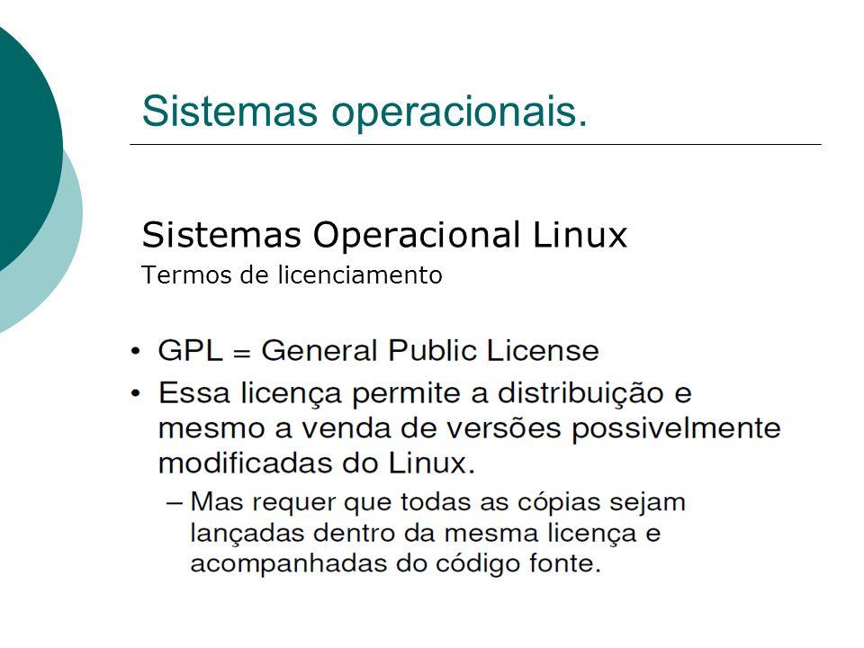 Sistemas operacionais. Sistemas Operacional Linux Termos de licenciamento