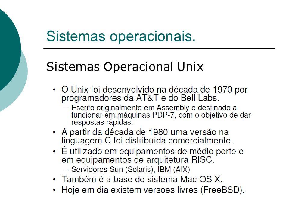 Sistemas operacionais. Sistemas Operacional Unix