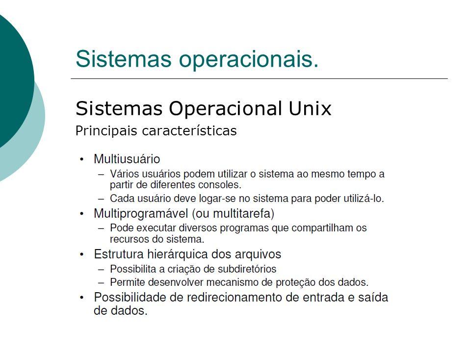 Sistemas operacionais. Sistemas Operacional Unix Principais características
