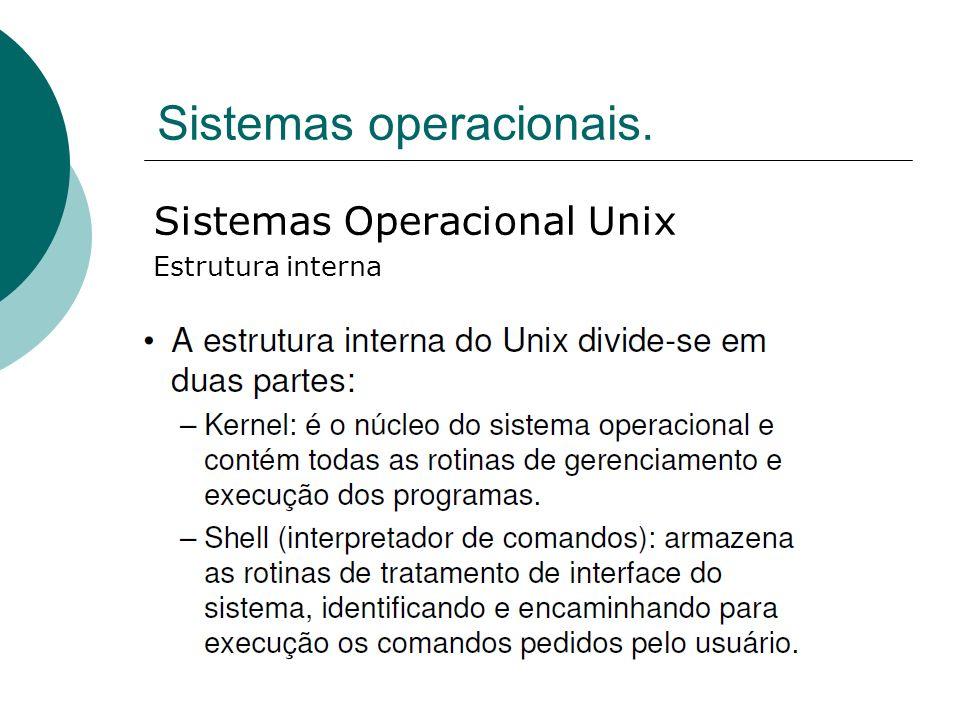 Sistemas operacionais. Sistemas Operacional Unix Estrutura interna