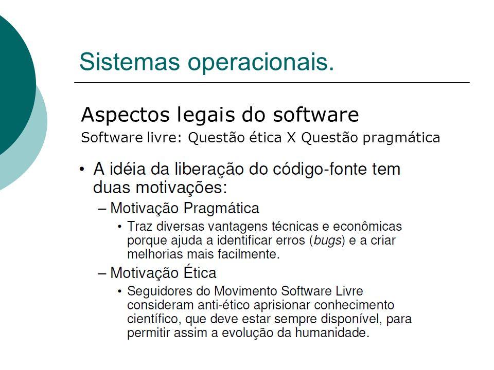 Sistemas operacionais. Aspectos legais do software Software livre: Questão ética X Questão pragmática
