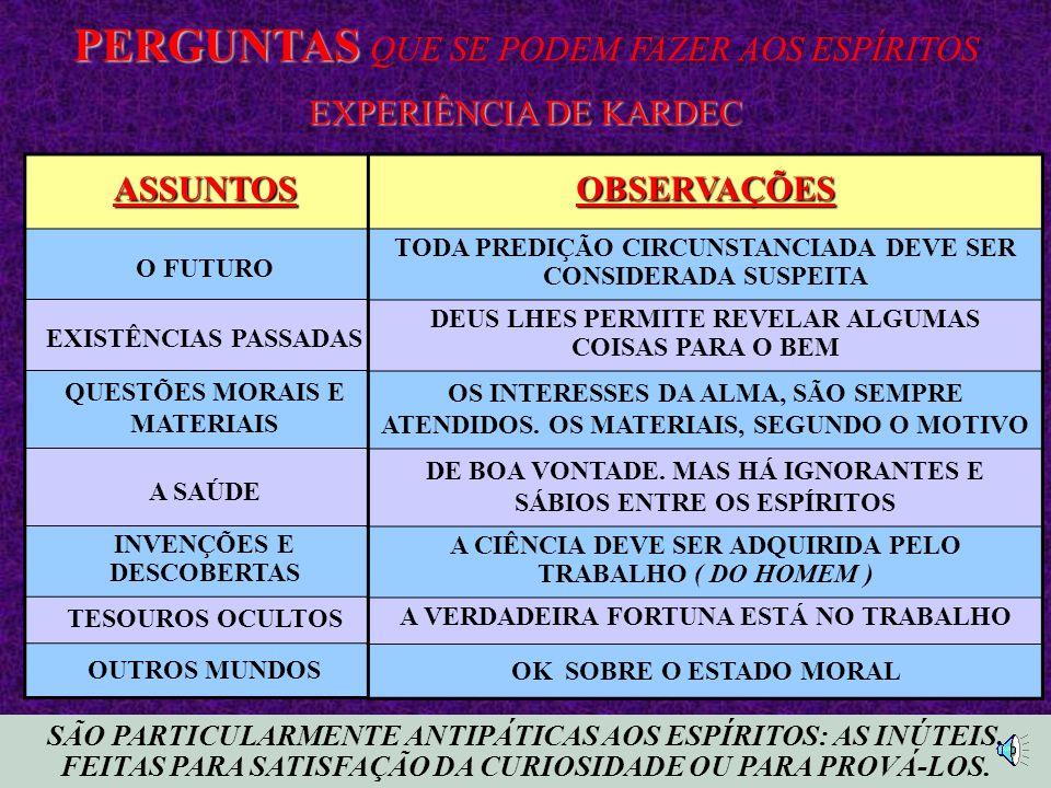 SÃO PARTICULARMENTE ANTIPÁTICAS AOS ESPÍRITOS: AS INÚTEIS, FEITAS PARA SATISFAÇÃO DA CURIOSIDADE OU PARA PROVÁ-LOS.