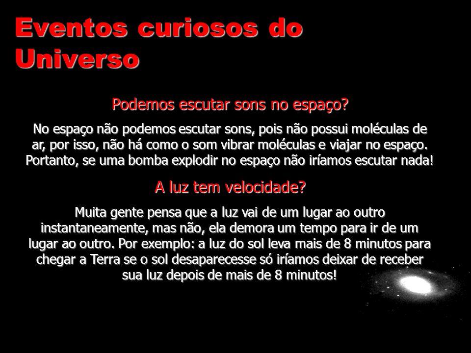 Eventos curiosos do Universo Podemos escutar sons no espaço? No espaço não podemos escutar sons, pois não possui moléculas de ar, por isso, não há com