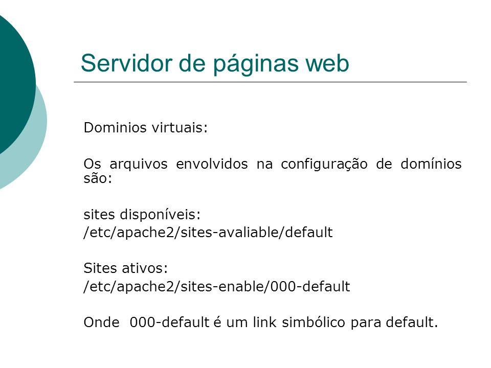 Servidor de páginas web Dominios virtuais: Os arquivos envolvidos na configuração de domínios são: sites disponíveis: /etc/apache2/sites-avaliable/def