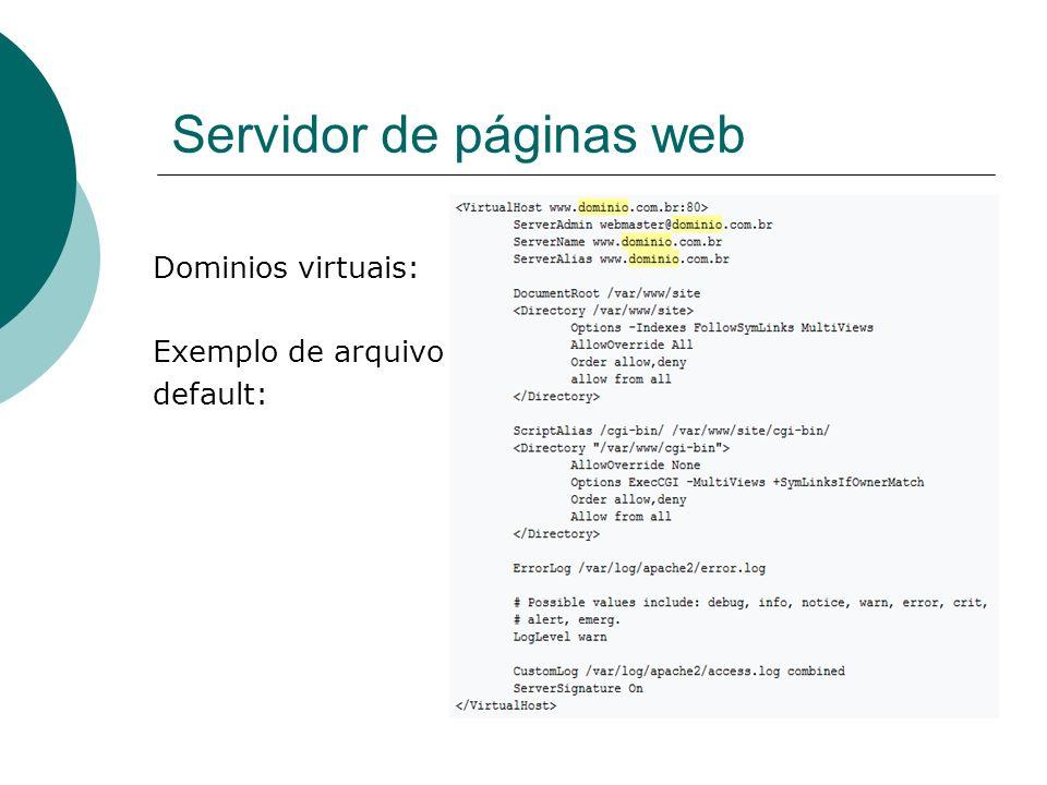 Servidor de páginas web Dominios virtuais: Exemplo de arquivo default: