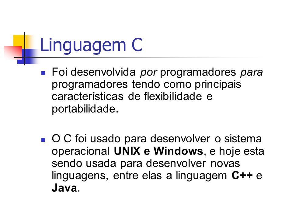 Linguagem C Foi desenvolvida por programadores para programadores tendo como principais características de flexibilidade e portabilidade. O C foi usad