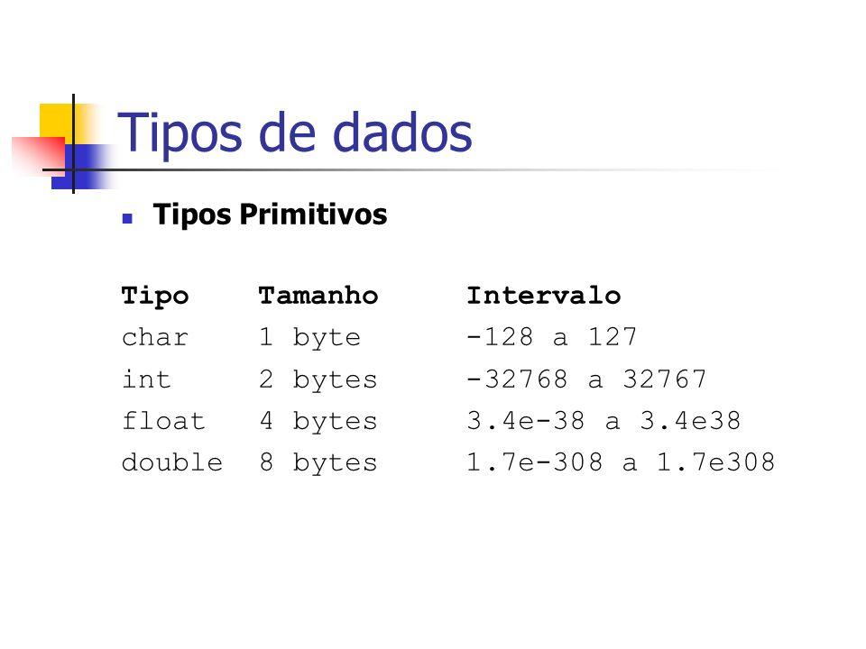 Tipos de dados Tipos Primitivos Tipo Tamanho Intervalo char 1 byte -128 a 127 int 2 bytes -32768 a 32767 float 4 bytes 3.4e-38 a 3.4e38 double 8 bytes