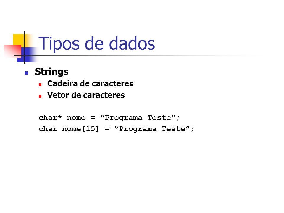 Tipos de dados Strings Cadeira de caracteres Vetor de caracteres char* nome = Programa Teste; char nome[15] = Programa Teste;