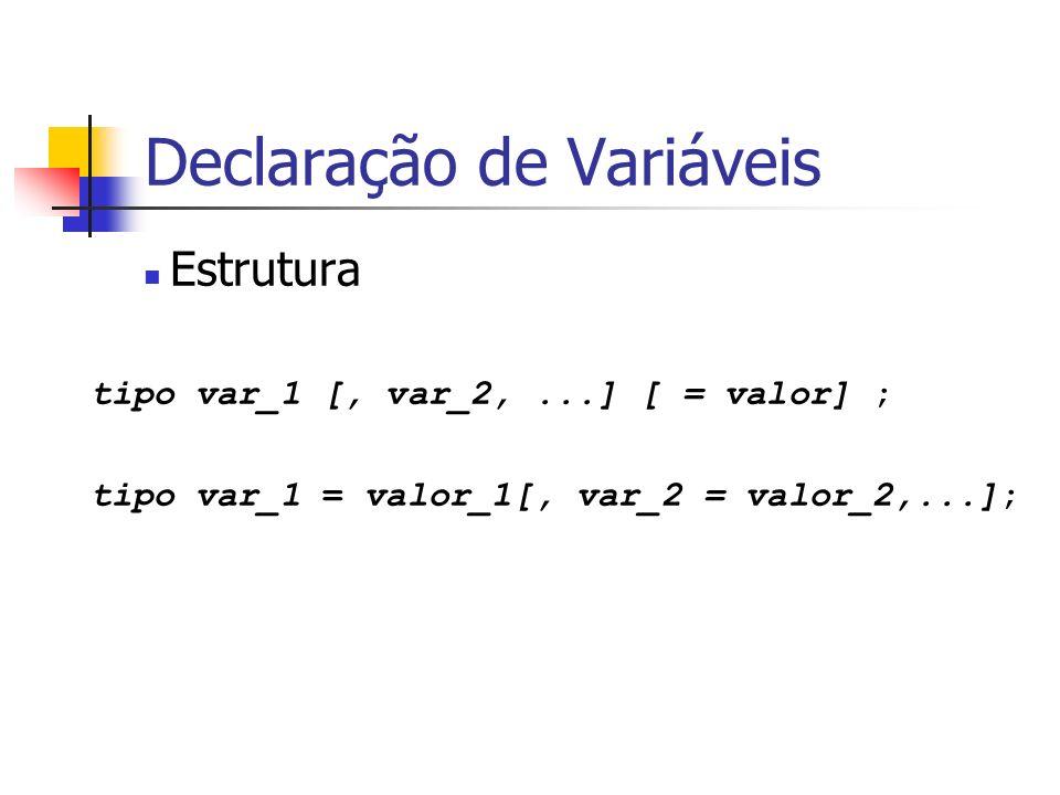 Declaração de Variáveis Estrutura tipo var_1 [, var_2,...] [ = valor] ; tipo var_1 = valor_1[, var_2 = valor_2,...];