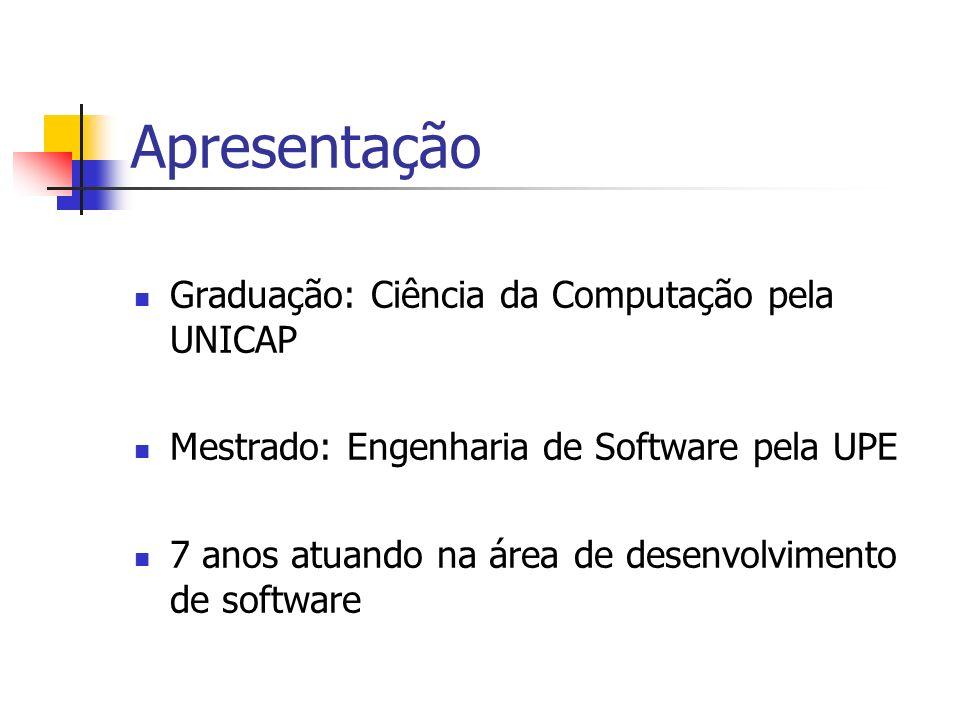 Apresentação Graduação: Ciência da Computação pela UNICAP Mestrado: Engenharia de Software pela UPE 7 anos atuando na área de desenvolvimento de softw