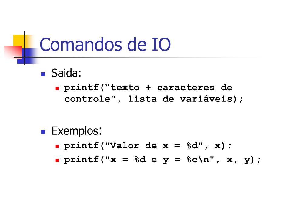 Comandos de IO Saida: printf(texto + caracteres de controle