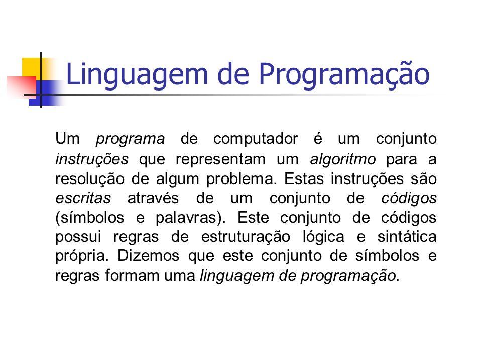 Um programa de computador é um conjunto instruções que representam um algoritmo para a resolução de algum problema. Estas instruções são escritas atra
