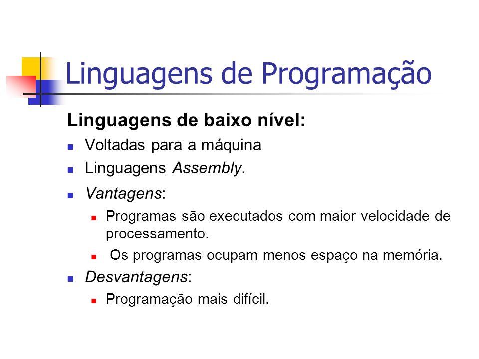 Linguagens de Programação Linguagens de baixo nível: Voltadas para a máquina Linguagens Assembly. Vantagens: Programas são executados com maior veloci