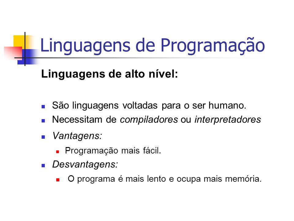 Linguagens de Programação Linguagens de alto nível: São linguagens voltadas para o ser humano. Necessitam de compiladores ou interpretadores Vantagens