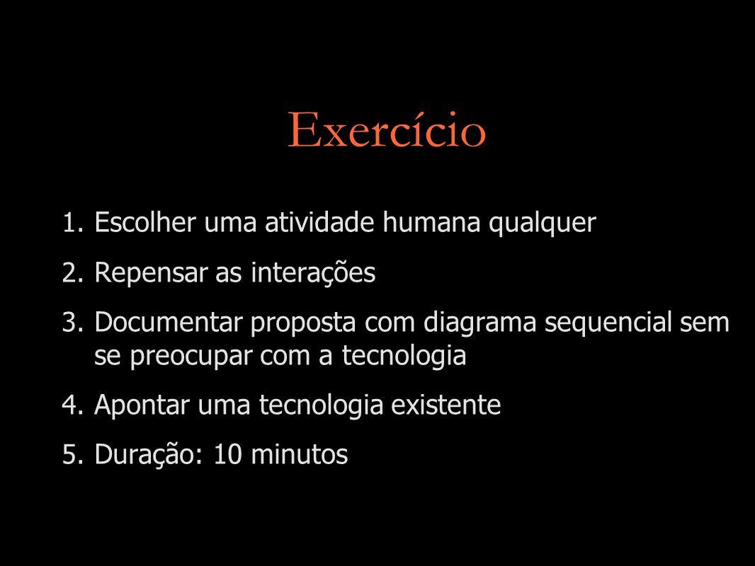 Exercício 1. Escolher uma atividade humana qualquer 2. Repensar as interações 3. Documentar proposta com diagrama sequencial sem se preocupar com a te