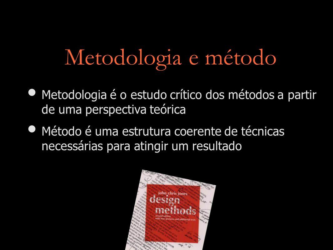 Metodologia e método Metodologia é o estudo crítico dos métodos a partir de uma perspectiva teórica Método é uma estrutura coerente de técnicas necess